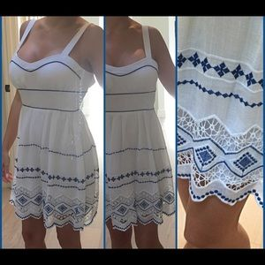 White with blue stitching summer dress